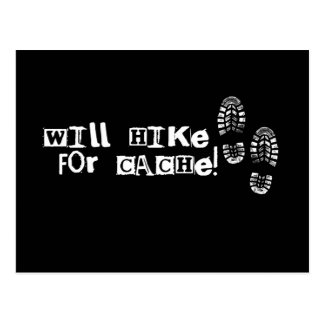 Will Hike For Cache! Postcard