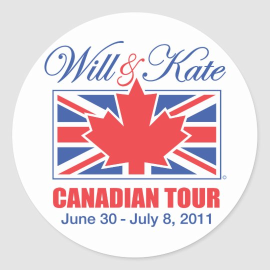 WILL & KATE CANADIAN TOUR CLASSIC ROUND STICKER