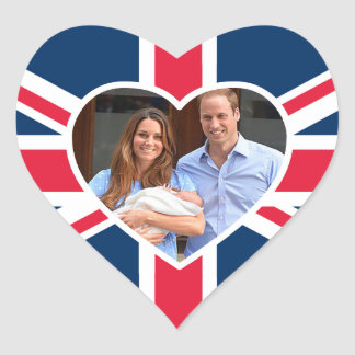 Will, Kate, Prince George - British Flag Heart Sticker