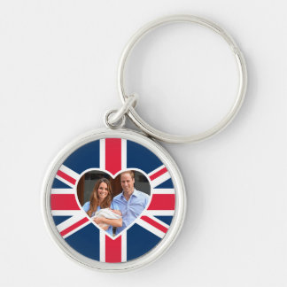 Will, Kate, Prince George - British Flag Keychain