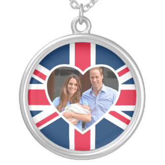 Will, Kate, Prince George - British Flag Silver Plated Necklace
