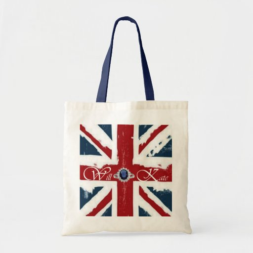 Will & Kate w/Flag Tote Bags
