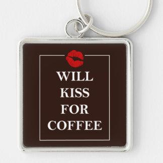 Will Kiss for Coffee Gift Original Design Java Fun Keychain