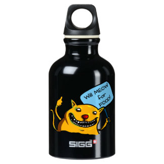 Will MEOW for FOOD! Aluminum Water Bottle