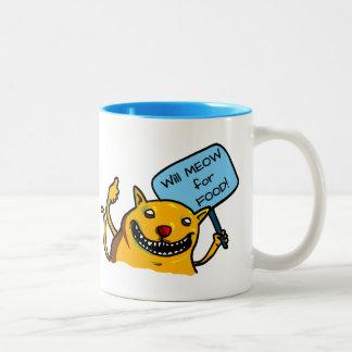 Will MEOW for FOOD! Two-Tone Coffee Mug