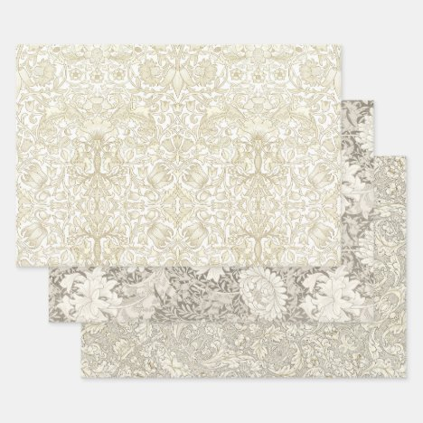 WILL MORRIS IVORY TAPESTRY HEAVY WEIGHT DECOUPAGE WRAPPING PAPER SHEETS