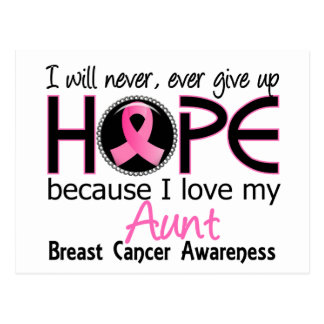 Will Never Give Up Hope Aunt Breast Cancer Postcard