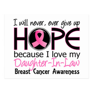 Will Never Give Up Hope Daughter-In-Law Breast Can Postcard