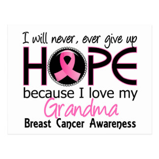 Will Never Give Up Hope Grandma Breast Cancer Postcard