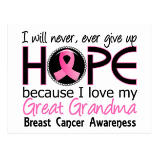 Will Never Give Up Hope Great Grandma Breast Cance Postcard