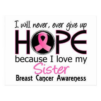 Will Never Give Up Hope Sister Breast Cancer Postcard