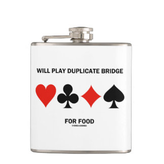Will Play Duplicate Bridge For Food Card Suits Flasks