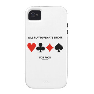 Will Play Duplicate Bridge For Food (Card Suits) iPhone 4/4S Case
