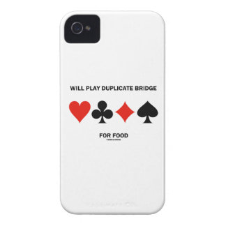Will Play Duplicate Bridge For Food (Card Suits) iPhone 4 Case-Mate Cases