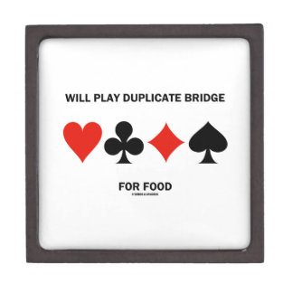 Will Play Duplicate Bridge For Food Card Suits Jewelry Box