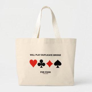 Will Play Duplicate Bridge For Food (Card Suits) Jumbo Tote Bag
