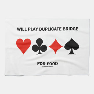Will Play Duplicate Bridge For Food Card Suits Kitchen Towels