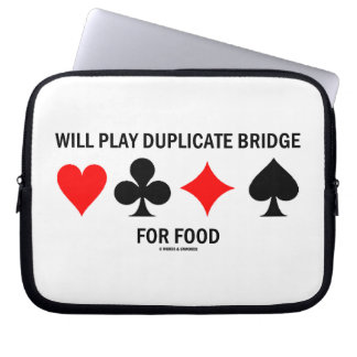 Will Play Duplicate Bridge For Food (Card Suits) Laptop Sleeves