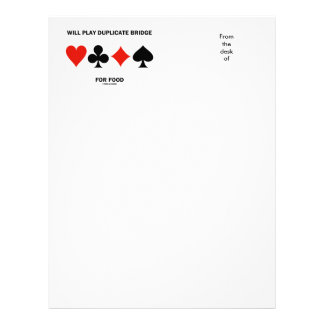 Will Play Duplicate Bridge For Food Card Suits Letterhead