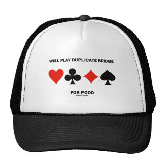 Will Play Duplicate Bridge For Food (Card Suits) Trucker Hat