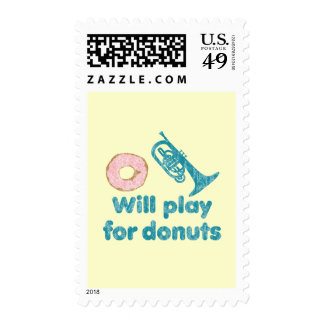 Will Play Mellophone for Donuts Postage Stamp