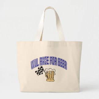 Will Race For Beer Large Tote Bag