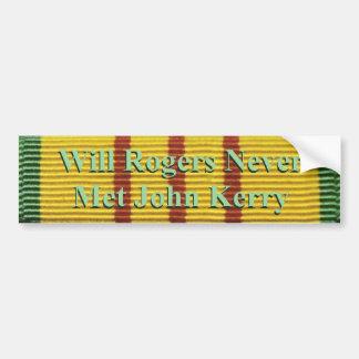 Will Rogers never met John Kerry Bumper Sticker