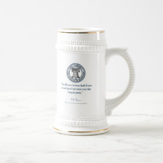 Will Rogers Quote (Death & Taxes) Beer Stein