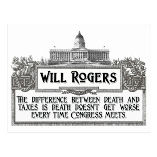 Will Rogers Quote on Death and Taxes Postcard