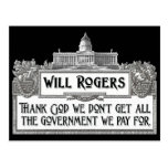 Will Rogers Quote on Government Efficiency Postcard