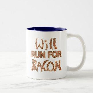 WILL RUN FOR BACON Running Tees & Gear Two-Tone Coffee Mug