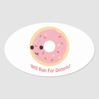 Will Run for Donuts Oval Sticker