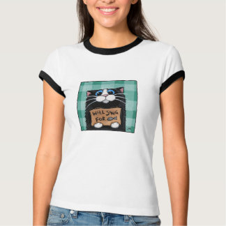 Will Sing for Fish - Cute Cat T-Shirt