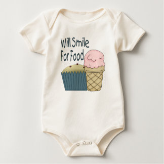 Will Smile for Food Baby Bodysuit