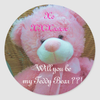 Will u b my teddy?? classic round sticker