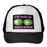 will walk for melons black with pink mesh hat
