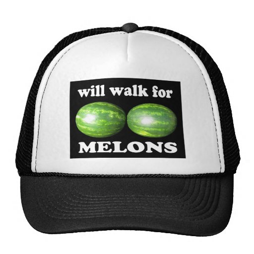 will walk for melons on black mesh hats