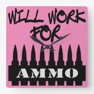 Will Work For Ammo Square Wall Clock