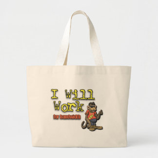 Will work for bandwidth tote bag