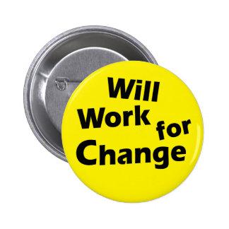 Will Work for Change - Political Activism Design 2 Inch Round Button
