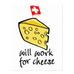 Will Work For Cheese Postcard