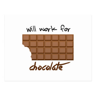 Will Work For Chocolate Postcard