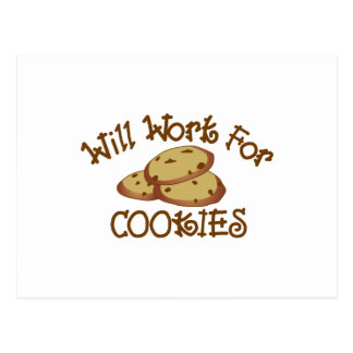 Will Work for Cookies Postcard