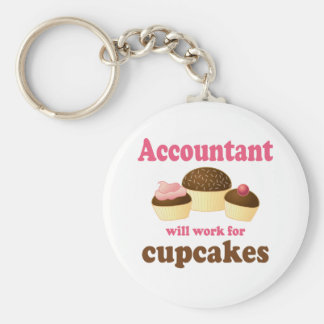 Will Work For Cupcakes Accountant Basic Round Button Keychain