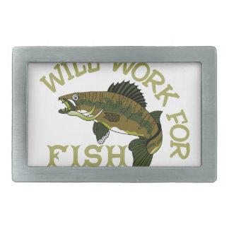 Will Work For Fish Rectangular Belt Buckle