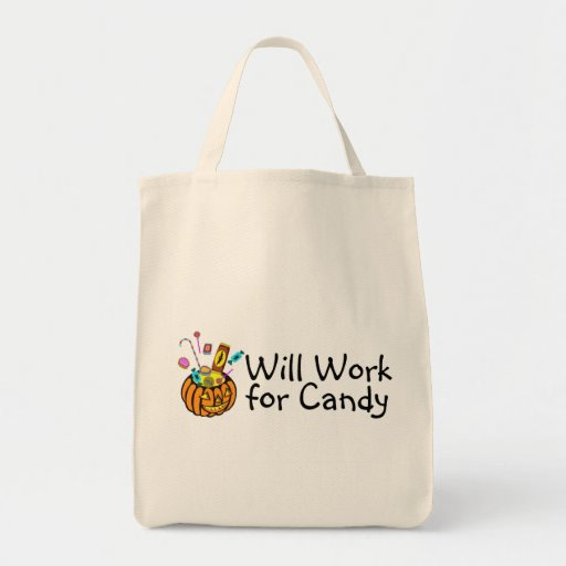 Will Work For Halloween Candy Tote Bag