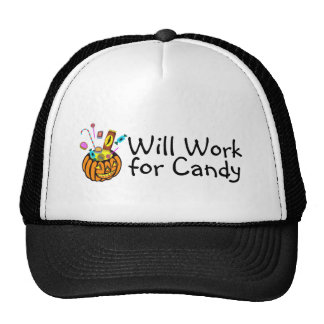 Will Work For Halloween Candy Trucker Hat