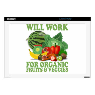 """Will Work For Organic Fruits and Veggies Decal For 17"""" Laptop"""