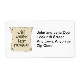 Will Work for Peace Custom Shipping Label