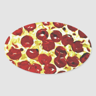 Will Work for Pizza Oval Sticker